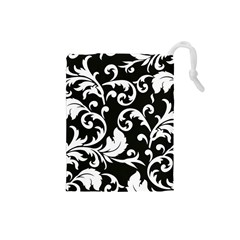 Black And White Floral Patterns Drawstring Pouches (small)  by Nexatart