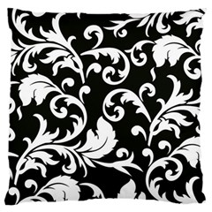 Black And White Floral Patterns Large Flano Cushion Case (two Sides)