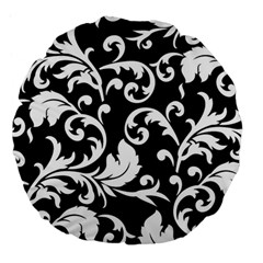 Black And White Floral Patterns Large 18  Premium Flano Round Cushions by Nexatart