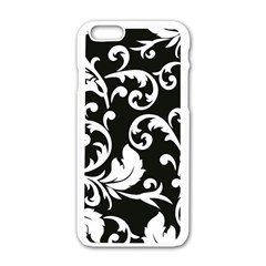 Black And White Floral Patterns Apple Iphone 6/6s White Enamel Case