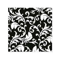 Black And White Floral Patterns Small Satin Scarf (square)