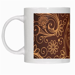 Gold And Brown Background Patterns White Mugs by Nexatart