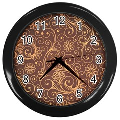 Gold And Brown Background Patterns Wall Clocks (black)