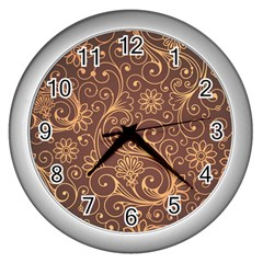 Gold And Brown Background Patterns Wall Clocks (silver)