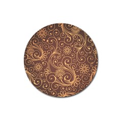Gold And Brown Background Patterns Magnet 3  (round) by Nexatart