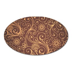 Gold And Brown Background Patterns Oval Magnet by Nexatart