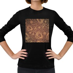 Gold And Brown Background Patterns Women s Long Sleeve Dark T Shirts