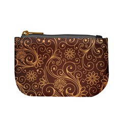 Gold And Brown Background Patterns Mini Coin Purses
