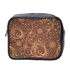 Gold And Brown Background Patterns Mini Toiletries Bag 2 Side by Nexatart
