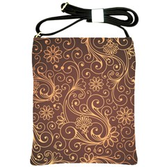 Gold And Brown Background Patterns Shoulder Sling Bags by Nexatart