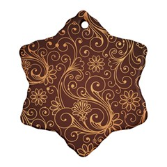 Gold And Brown Background Patterns Snowflake Ornament (two Sides)