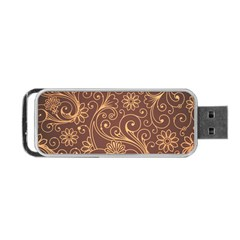 Gold And Brown Background Patterns Portable Usb Flash (one Side)