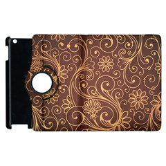 Gold And Brown Background Patterns Apple Ipad 3/4 Flip 360 Case