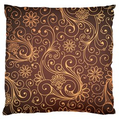 Gold And Brown Background Patterns Large Flano Cushion Case (two Sides) by Nexatart