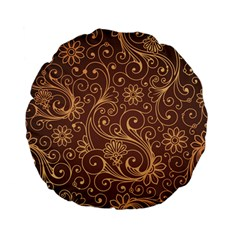 Gold And Brown Background Patterns Standard 15  Premium Flano Round Cushions