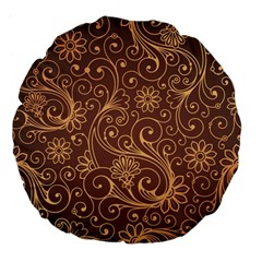 Gold And Brown Background Patterns Large 18  Premium Flano Round Cushions