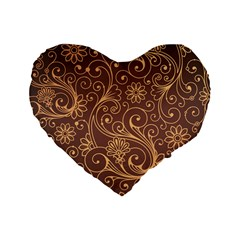 Gold And Brown Background Patterns Standard 16  Premium Flano Heart Shape Cushions by Nexatart