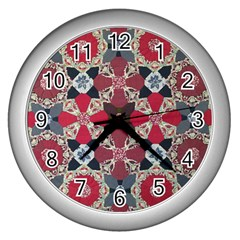 Beautiful Art Pattern Wall Clocks (silver)  by Nexatart