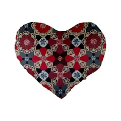 Beautiful Art Pattern Standard 16  Premium Flano Heart Shape Cushions by Nexatart