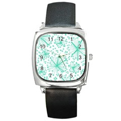 Pattern Floralgreen Square Metal Watch by Nexatart