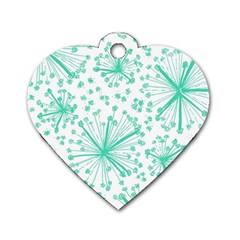 Pattern Floralgreen Dog Tag Heart (one Side) by Nexatart