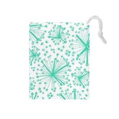 Pattern Floralgreen Drawstring Pouches (medium)  by Nexatart