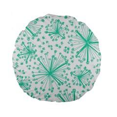 Pattern Floralgreen Standard 15  Premium Flano Round Cushions by Nexatart