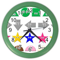 Cute Symbol Color Wall Clocks by Nexatart