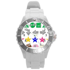 Cute Symbol Round Plastic Sport Watch (l) by Nexatart
