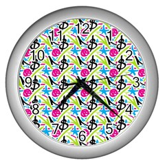 Cool Graffiti Patterns  Wall Clocks (silver)  by Nexatart