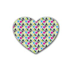 Cool Graffiti Patterns  Rubber Coaster (heart)  by Nexatart
