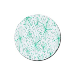 Pattern Floralgreen Rubber Coaster (round)