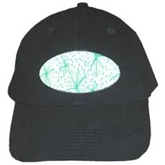 Pattern Floralgreen Black Cap by Nexatart