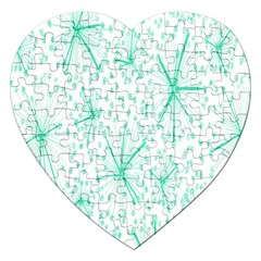 Pattern Floralgreen Jigsaw Puzzle (heart) by Nexatart