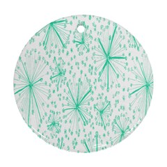 Pattern Floralgreen Round Ornament (two Sides)