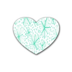 Pattern Floralgreen Heart Coaster (4 Pack)