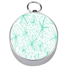 Pattern Floralgreen Silver Compasses