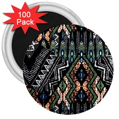 Ethnic Art Pattern 3  Magnets (100 Pack)