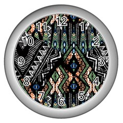 Ethnic Art Pattern Wall Clocks (silver)  by Nexatart