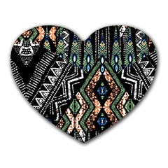 Ethnic Art Pattern Heart Mousepads by Nexatart