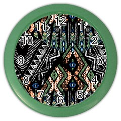 Ethnic Art Pattern Color Wall Clocks by Nexatart