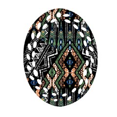 Ethnic Art Pattern Oval Filigree Ornament (two Sides) by Nexatart