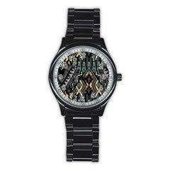 Ethnic Art Pattern Stainless Steel Round Watch