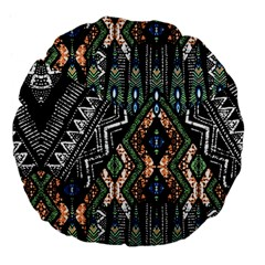 Ethnic Art Pattern Large 18  Premium Flano Round Cushions