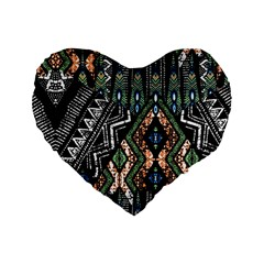 Ethnic Art Pattern Standard 16  Premium Flano Heart Shape Cushions by Nexatart