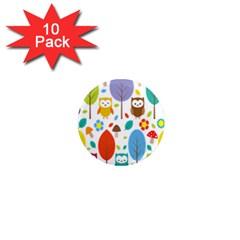 Cute Owl 1  Mini Magnet (10 Pack)
