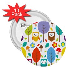 Cute Owl 2 25  Buttons (10 Pack)  by Nexatart