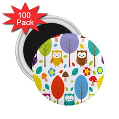 Cute Owl 2 25  Magnets (100 Pack)  by Nexatart