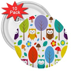 Cute Owl 3  Buttons (10 Pack)