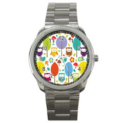 Cute Owl Sport Metal Watch